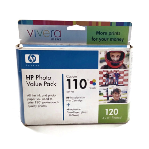 "HP Vivera Photo Value Pack 110 Tri-Color Ink Cartridge & 120 Sheets 4""x 6"" Gloss"