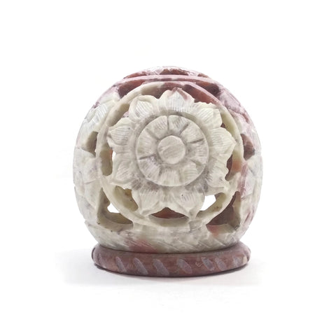 Burner for Cones and Candle Holder - Soapstone Carved Tea-Light Ball - Flowers