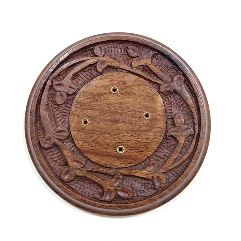Incense Burner - Wooden Round Plate - 4 inches