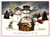"""Heavenly Peace Snow Family"" Christmas Holiday Seasons Greeting Card"