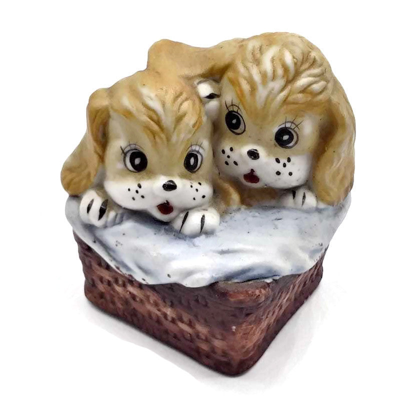 Two Puppy-Dogs Figures Blond hair inside a Basket Ceramic-Porcelain Hand Painted