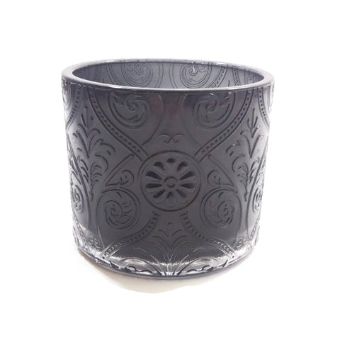 "Glass Candle Holder Votive Embellished Black 3.5""H x 4""D"