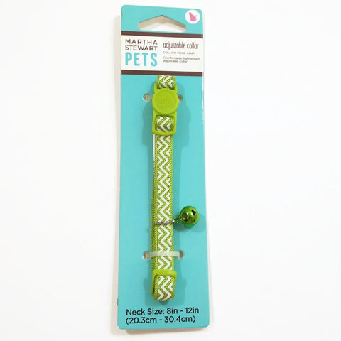 Martha Stewart Pets Cats/Dogs Fashion Adjustable Collar with a Bell Green/White