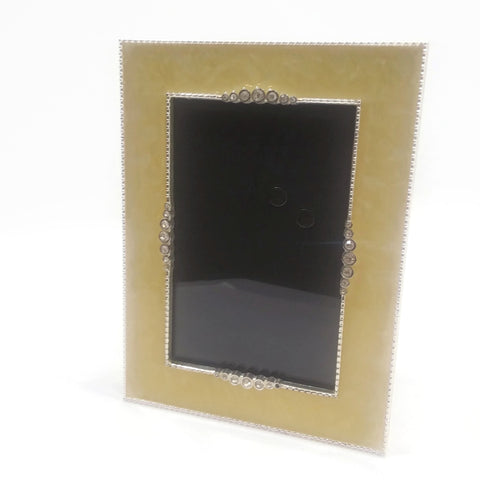 Ornate Vintage Table Top Photo Frame Decorated W/Silver & Beige