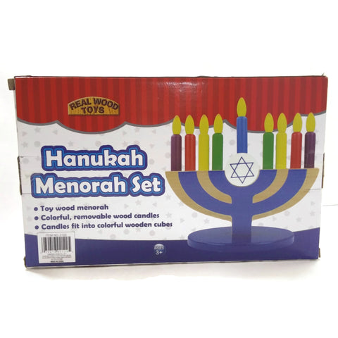 Hanukkah Wood Menorah Set Chanukah Gift Toy Art & Craft
