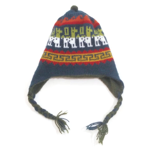 Kids Handmade 100% Wool Knit Earflap Winter Beanie Hat NEW