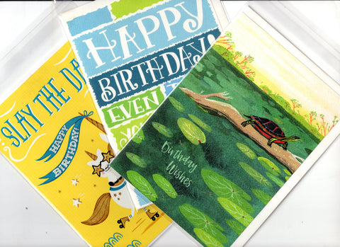 Lot of 3 Trader Joe's Birthday Wishes Greeting Cards New Unused In Plastic