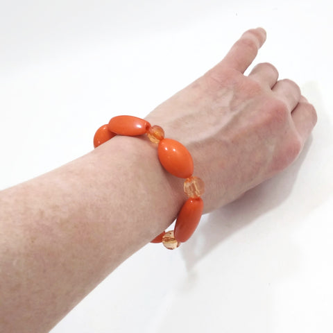Handmade Orange Beaded Vintage Women's Girls Bracelet Jewelry