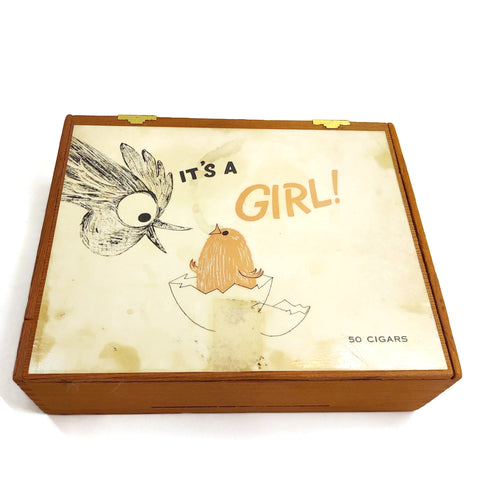 "Vintage S. Frieder & Sons Co. ""It's A Girl"" Cigars Wooden Box Collectible"