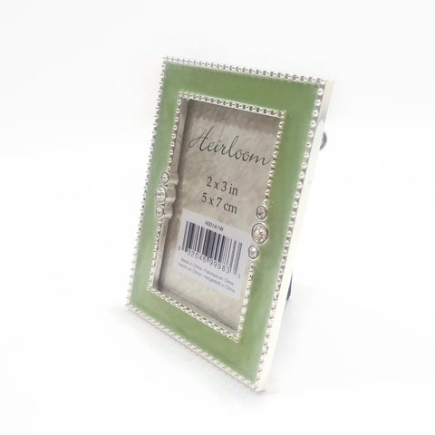 Vintage Ornate Table Top Photo Frame Decorated W/Silver & Green