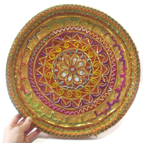 Colorful Natural Handmade round Straw table mat.