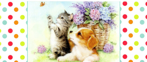 Que Disfrutes tu Cumpleaños Happy Birthday Greeting Card Cat Dog & Butterfly