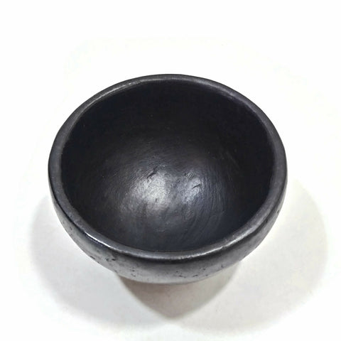 "Incense Burner Handmade La Chamba Clay Smudging Bowl Black H2""xD3"""