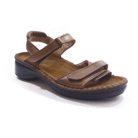 Naot Womens EU 37 Tan Leather Sandals Ankle Strap Comfort Casual