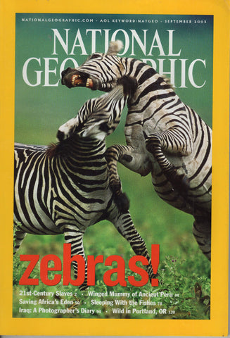 National Geographic Magazine Zebras! September 2003