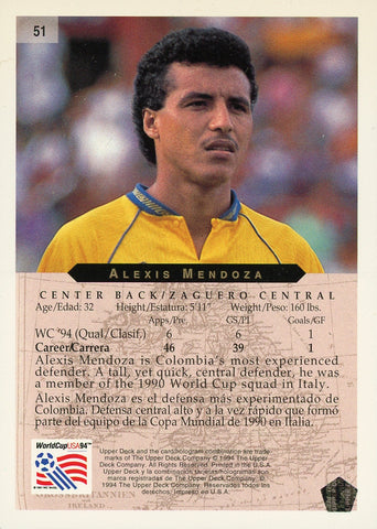 Alexis Mendoza Colombia Upper Deck #51 World Cup USA '94 Soccer Sport Card