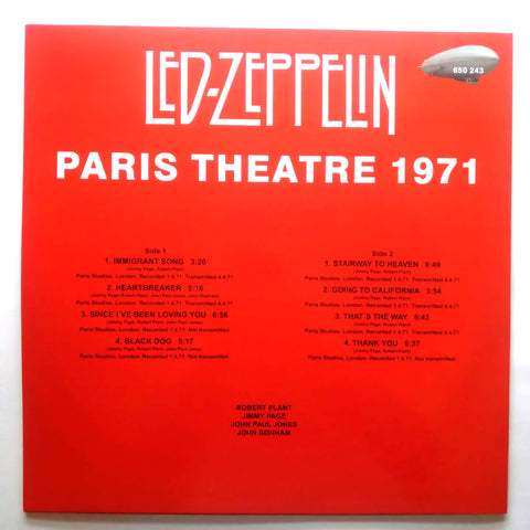 Led Zeppelin – Paris Theatre 1971 650 243 Vinyl LP 12'' Record