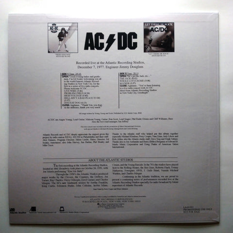 AC/DC – Live From The Atlantic Studios LAAS 001 Vinyl LP 12'' Record PROMO Rare