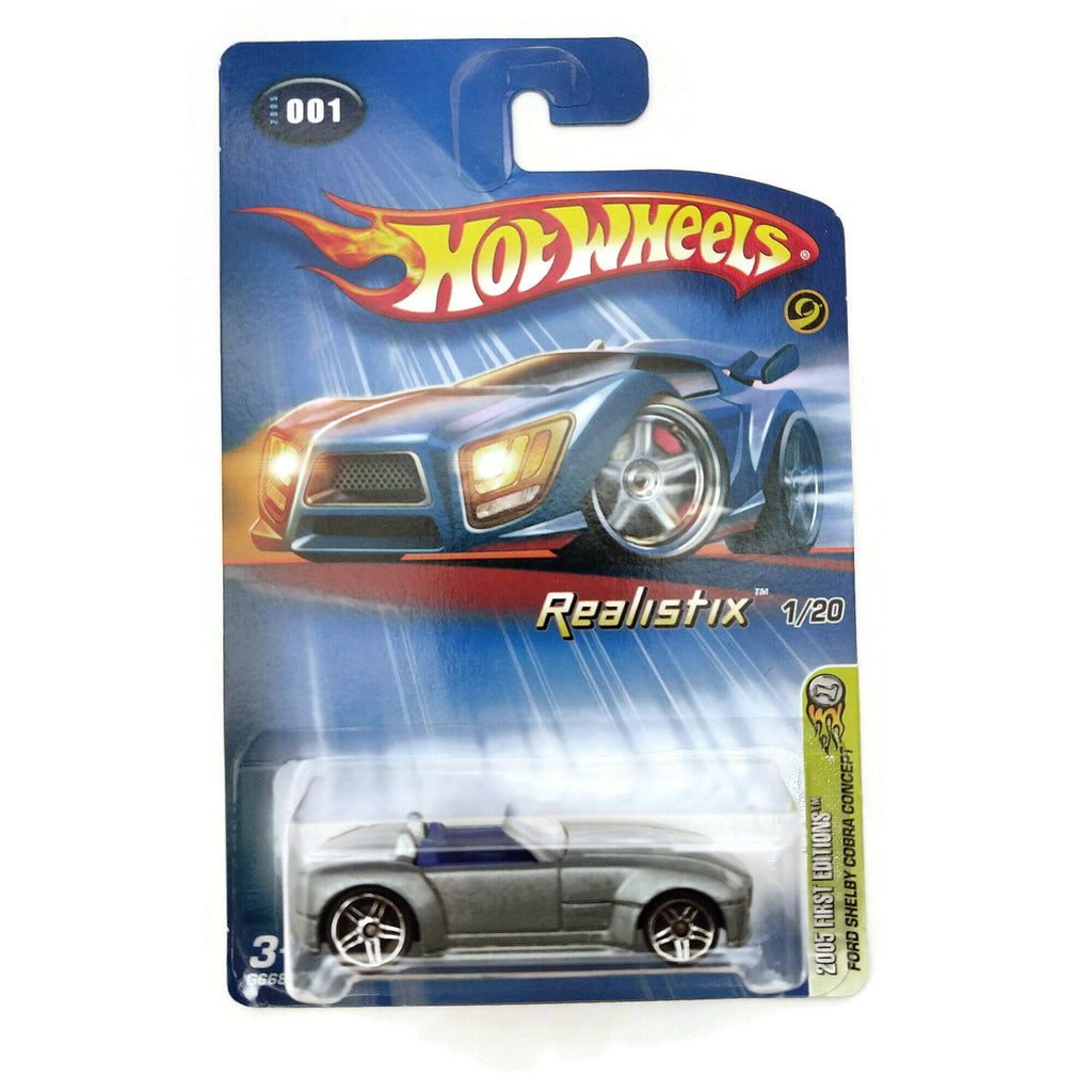 Hot Wheels 2005 First Editions, Ford Shelby Cobra Concept 1/20 #001, Silver, NEW