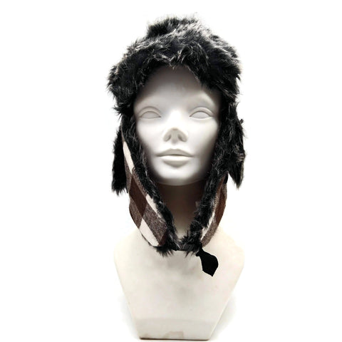 Bomber Trapper Aviator Hat Unisex with Earflaps Brown