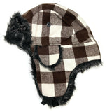 Bomber Trapper Aviator Hat Unisex with Earflaps Brown White