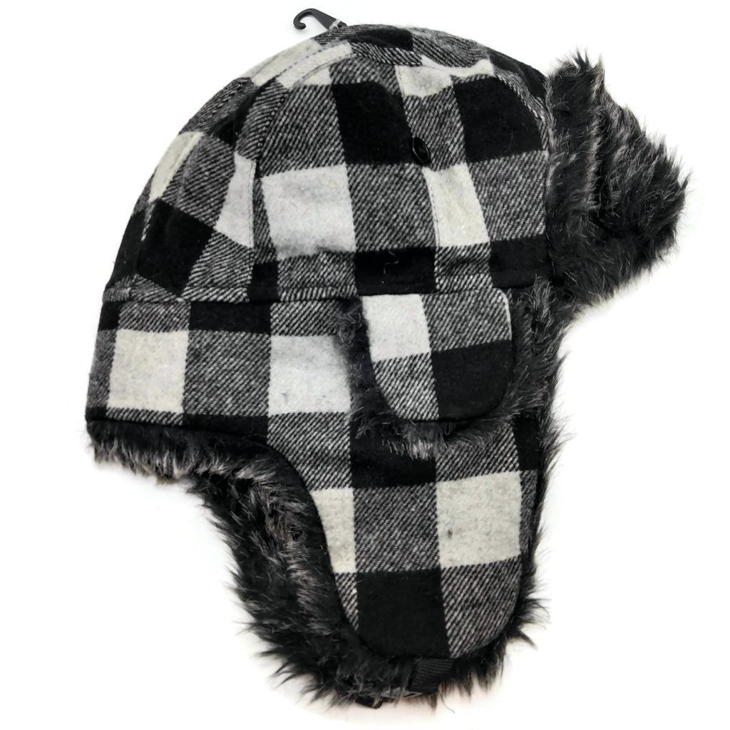 Bomber Trapper Aviator Winter Hat Unisex with Earflaps Black White