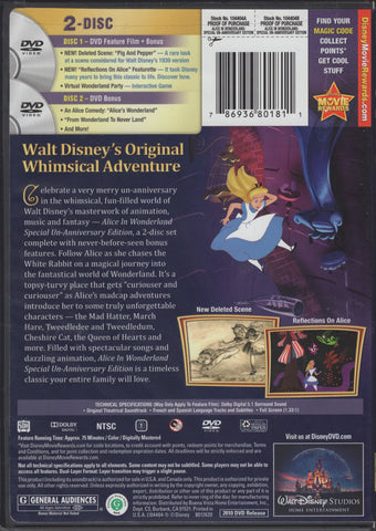 Alice in Wonderland (Two-Disc Special Un-Anniversary Edition) DVD