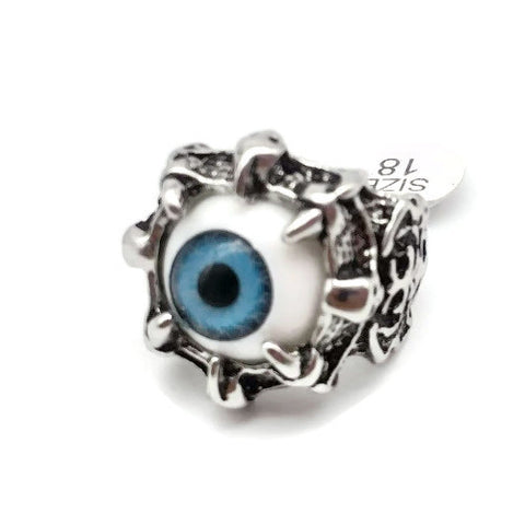 Silver Skull Ring with Blue Eyeball, Size 18 - NEW !