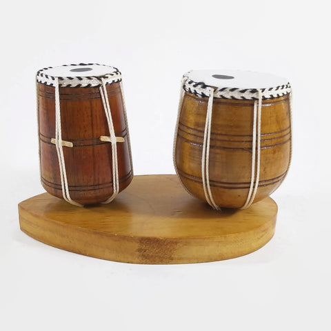 India Handicraft Miniature Musical Instrument Wooden Tabla and Bhaya Brown - NEW