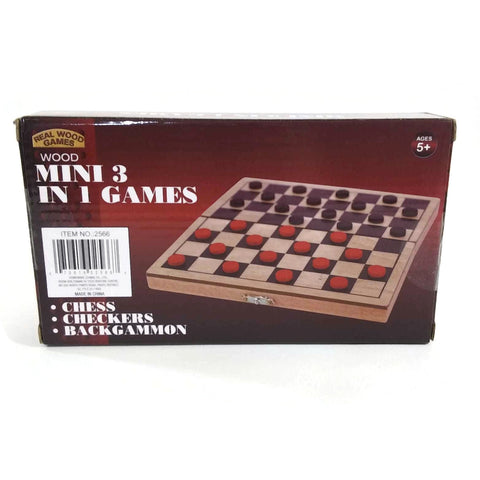 Chess Checkers Backgammon Real Wood Games Mini 3 In 1 Games - NEW