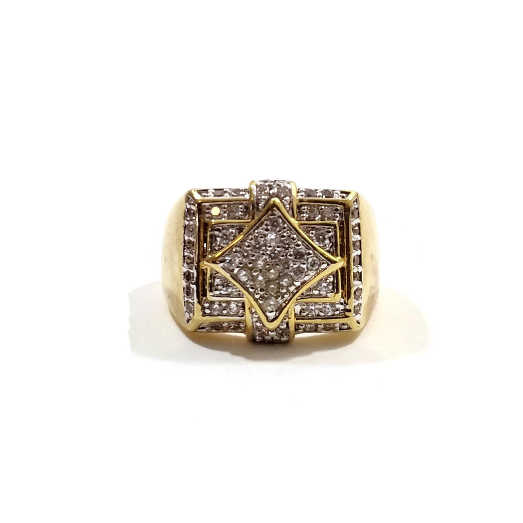 Men's Gold Square and Diamond Shapes Finger Ring Size 12