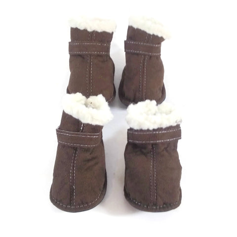 Outdoor Dog Shearling Boots Small Brown NEW