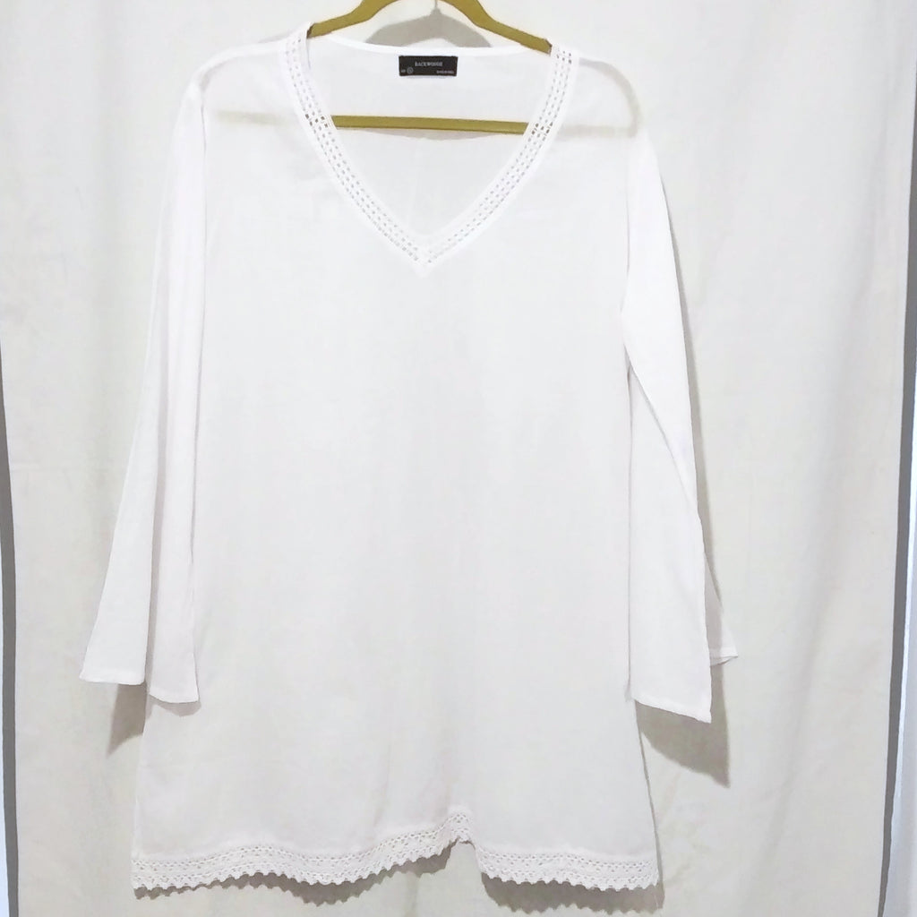 Women BACKWOODS Long Sleeve Loose Baggy Tops Shirt Blouse White XL NEW