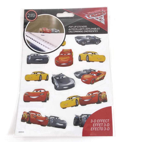 Disney Cars Pop Up Stickers 3-D effect 2 Sheets - NEW