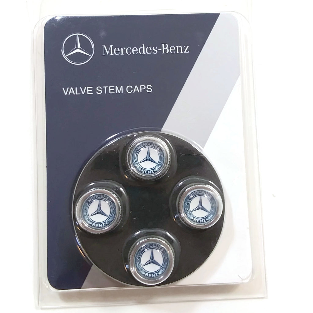 Mercedes Benz Genuine Q-6-40-8131 - Tire Valve STEM CAPS, Blue Laurel Wreath