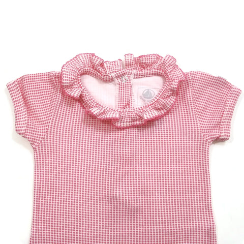 PETIT BATEAU Baby Girl 12 Months / 86 CM  OutFit Bodysuit Short One Piece Pink &