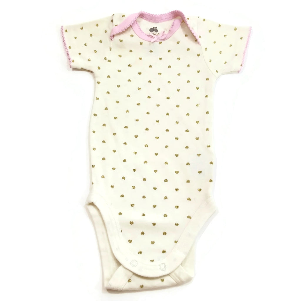 Just Born Organic Cotton Baby Girl Golden Hearts OutFit Bodysuit Short One Piece