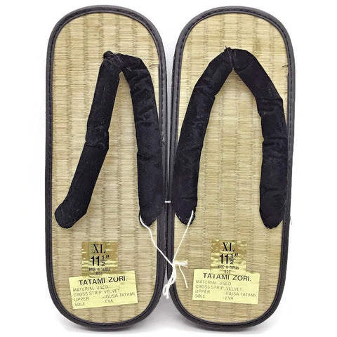 "Straw Tatami Zori Sandals, Size XL, 11.5"" – New"