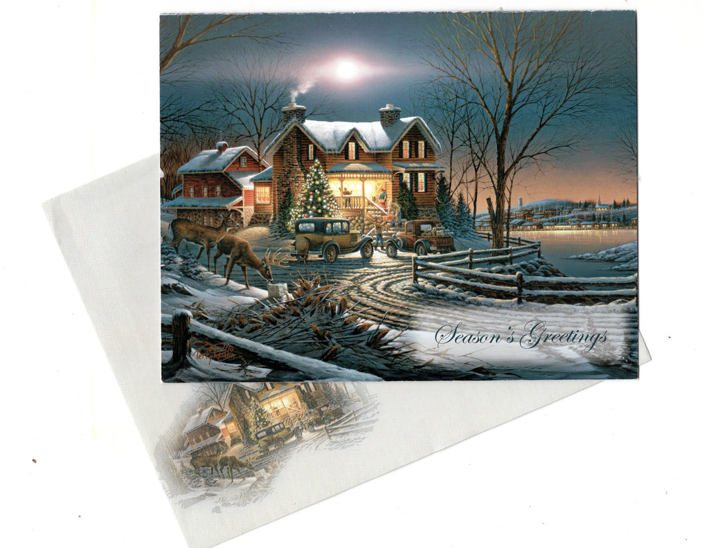 Vintage Season's Greetings Merry Christmas Holiday Seasons Greeting Card