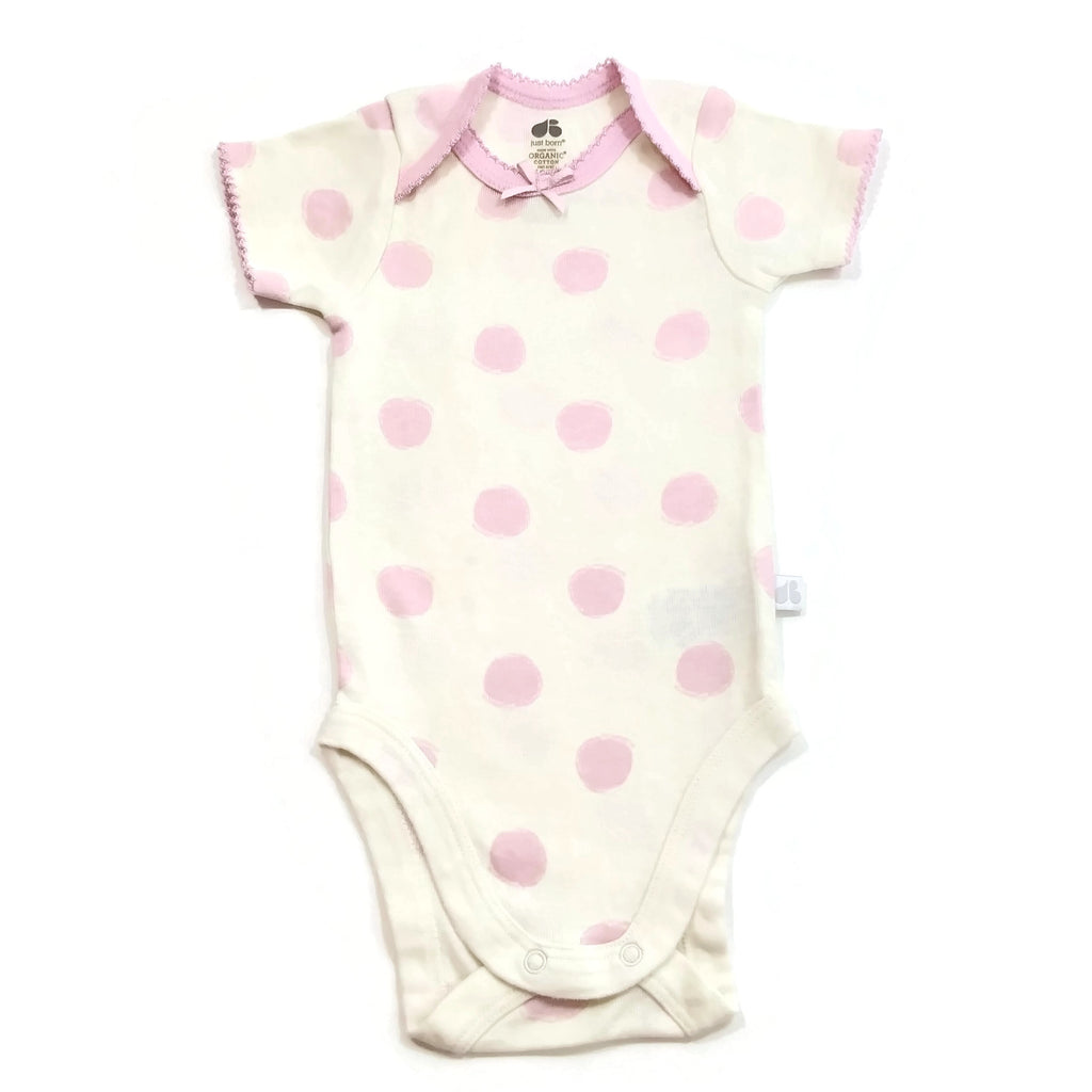 Just Born Organic Cotton Baby Girls Pink Dots OutFit Bodysuit Short One Piece
