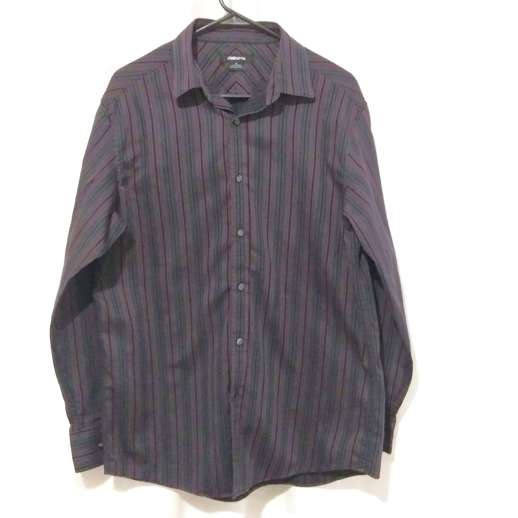 Men's Cotton Striped Casual Long Sleeve Dress Shirt Dark Gray Medium