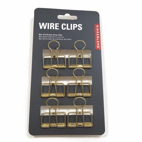 Set of 6 Brass Gold Wire Clips Paper-Clips