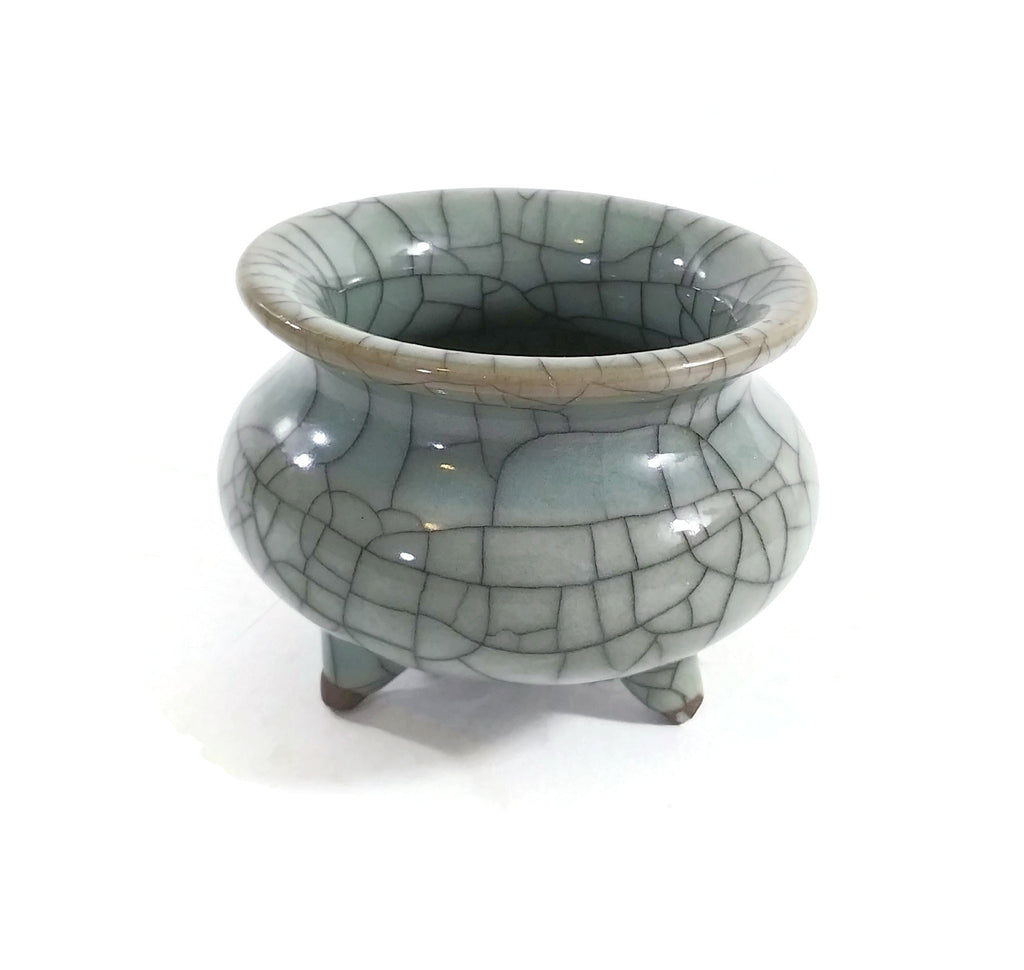 Small Longquan Celadon Glaze Porcelain Tripod Crackle Incense Sage Burner 2.25""