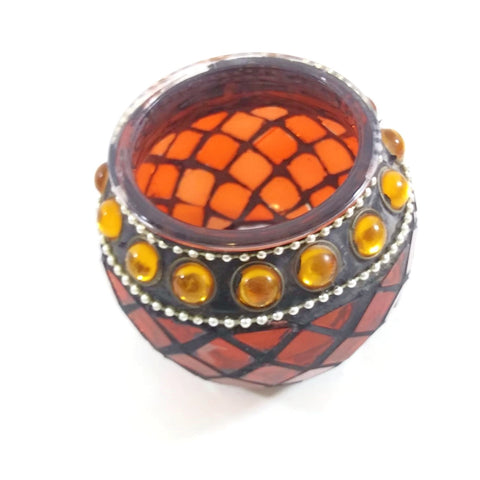 "Glass Candle Holder Votive Embellished Red/Orange/Silver 2.75""H, 2.25""D"