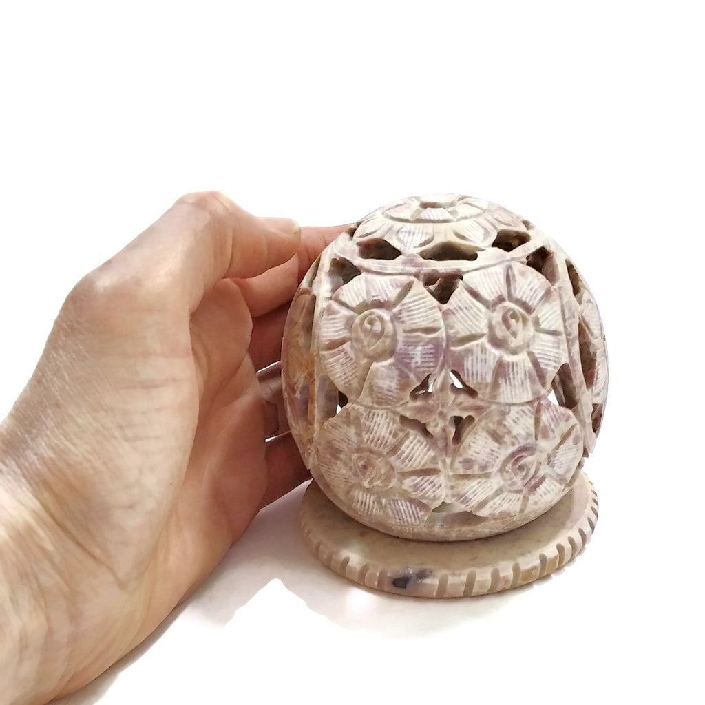 Incense Burner for Cones and Candle Holder - Soapstone Carved T-Lite Ball