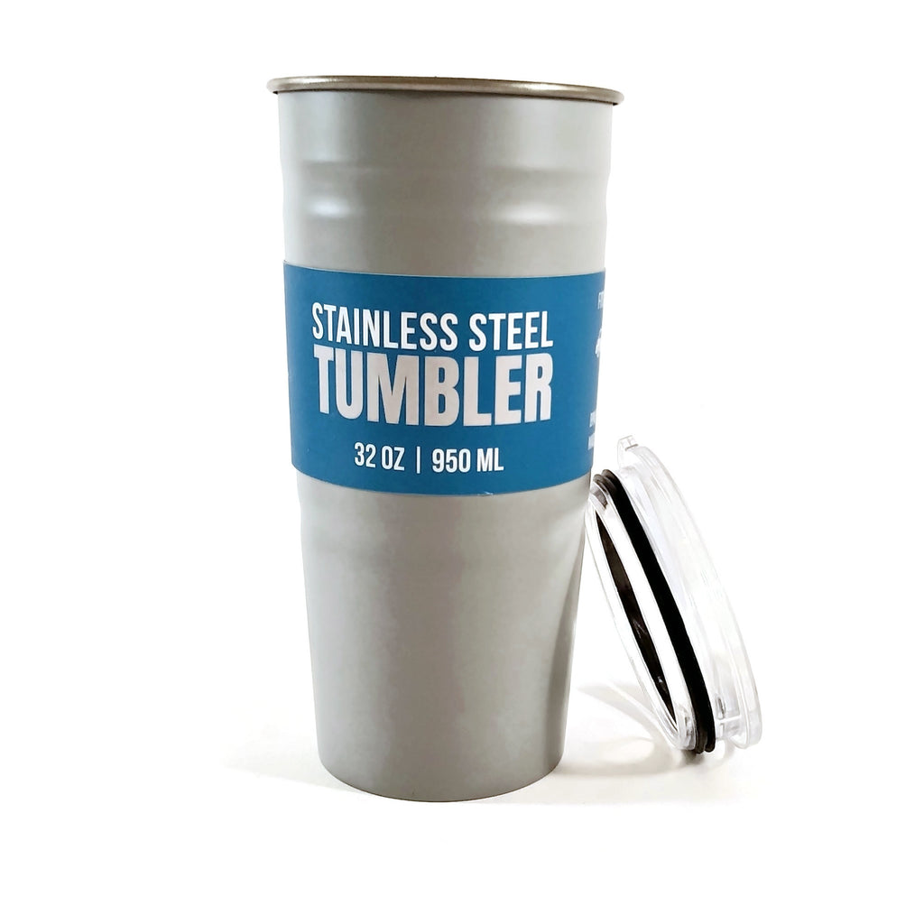 Stainless Steel Tumbler BPA Free For Cold Drinks 32 oz Gray NEW