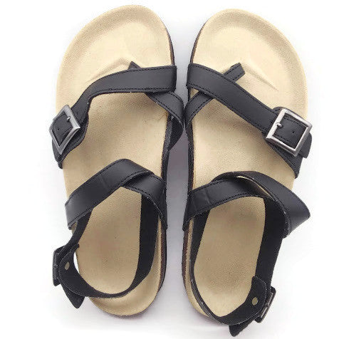 Women's Flat Summer  Buckle Sandals Flip Flop Straps Sandals - Black, Size 7