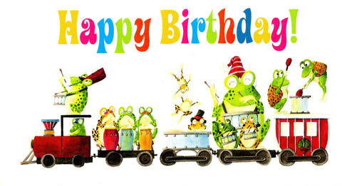 Greeting Happy Birthday Card Frog Train Band Birthday Celebration
