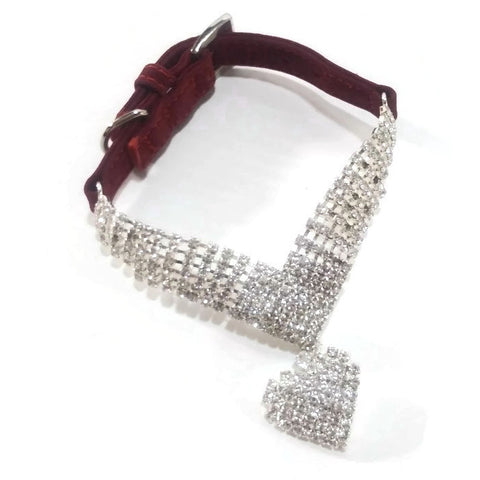 Dog/Cat Collar, Red Velvet, With Shinny Silver Heart