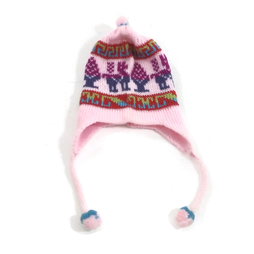Girls Pink Handmade 100% Wool Knit Earflap Winter Beanie Hat NEW